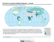 Map: Ecosystem Vitality - Forests, EPI 2016