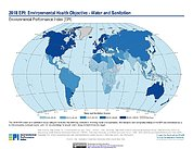 Map: Environmental Health - Water & Sanitation, EPI 2018