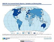 Map: Environmental Health - Sanitation & Drinking Water, EPI 2020