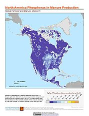Map: North America: Global Fertilizer and Manure, Version 1: Phosphorus in Manure Production