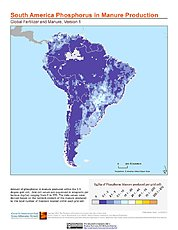 Map: South America: Global Fertilizer and Manure, Version 1: Phosphorus in Manure Production