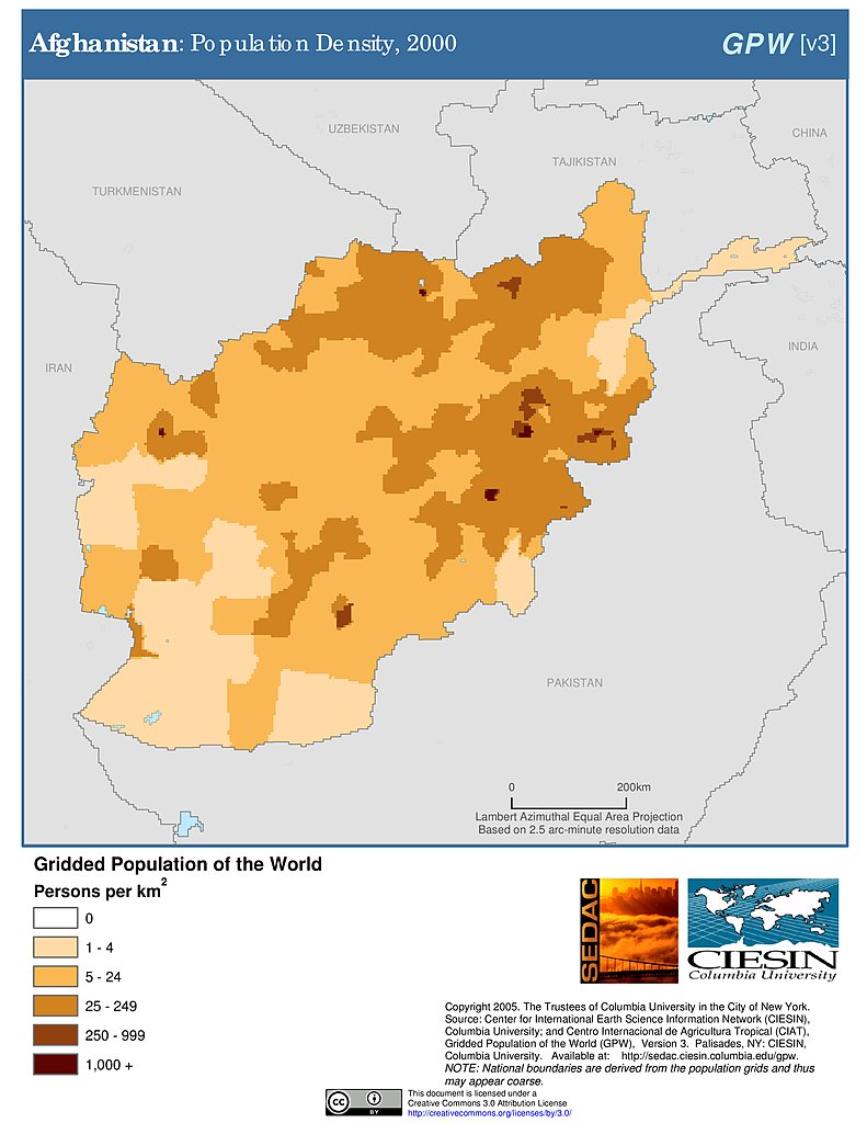 Population Density 2000 Afghanistan