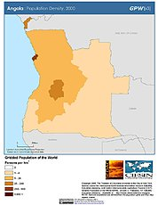 Map: Population Density (2000): Angola