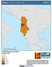 Map: Population Density (2000): Albania