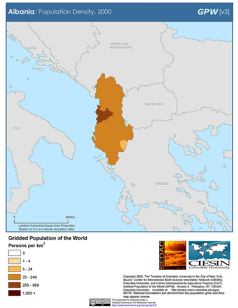 Map Gallery SEDAC - Albania physical map 2000