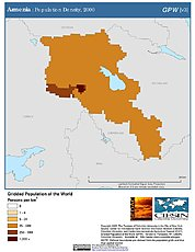 Map: Population Density (2000): Armenia