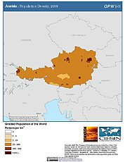 Map: Population Density (2000): Austria