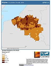 Map: Belgium: Population Density, 2000