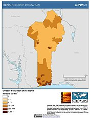 Map: Benin: Population Density, 2000
