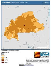 Map: Population Density (2000): Burkina Faso