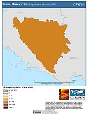 Map: Bosnia-Herzegovina: Population Density, 2000