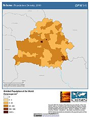 Map: Belarus: Population Density, 2000