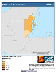 Map: Belize: Population Density, 2000
