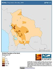Map: Bolivia: Population Density, 2000