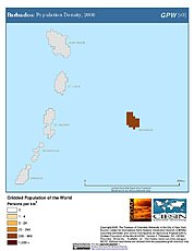 Map: Barbados: Population Density, 2000