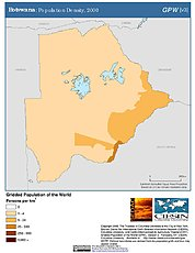 Map: Botswana: Population Density, 2000