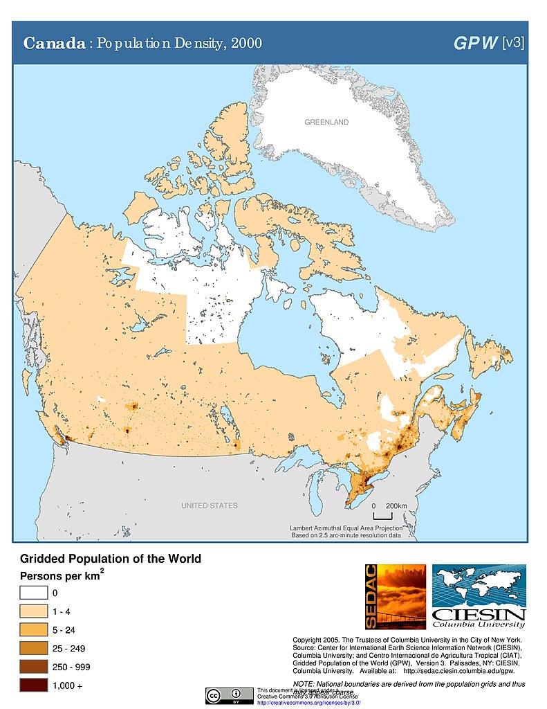 Map Of Canada Population Density.Maps Population Density Grid V3 Sedac