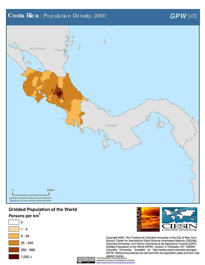 costa rica population density map Maps Population Density Grid V3 Sedac costa rica population density map