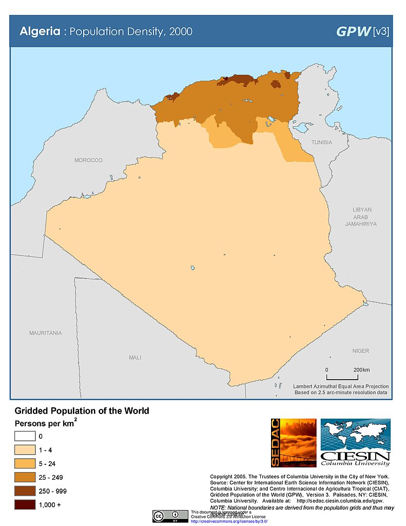 Maps Population Density Grid V SEDAC - Algeria map