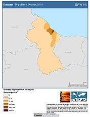 Map: Population Density (2000): Guyana