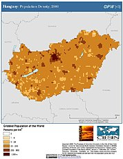 Map: Population Density (2000): Hungary