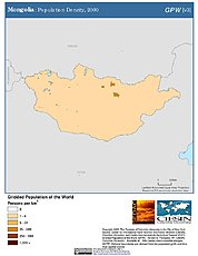 Map: Population Density (2000): Mongolia