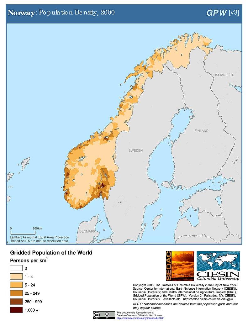 Maps Population Density Grid V SEDAC - Norway map population density