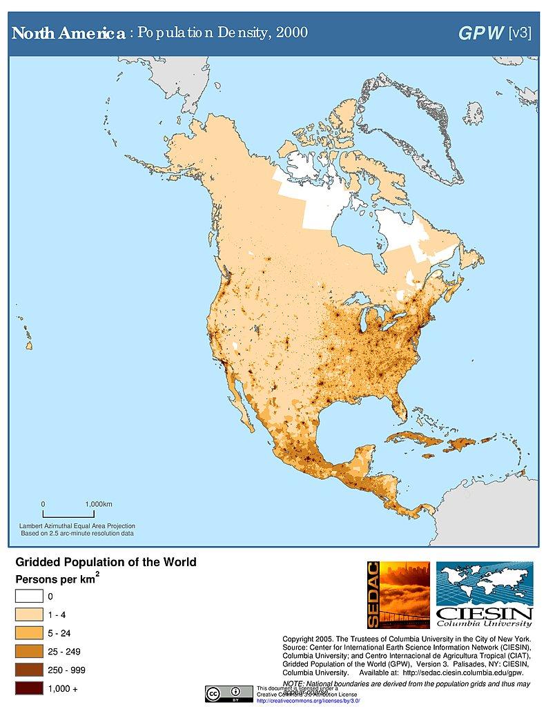 Map Of America By Population.Maps Population Density Grid V3 Sedac