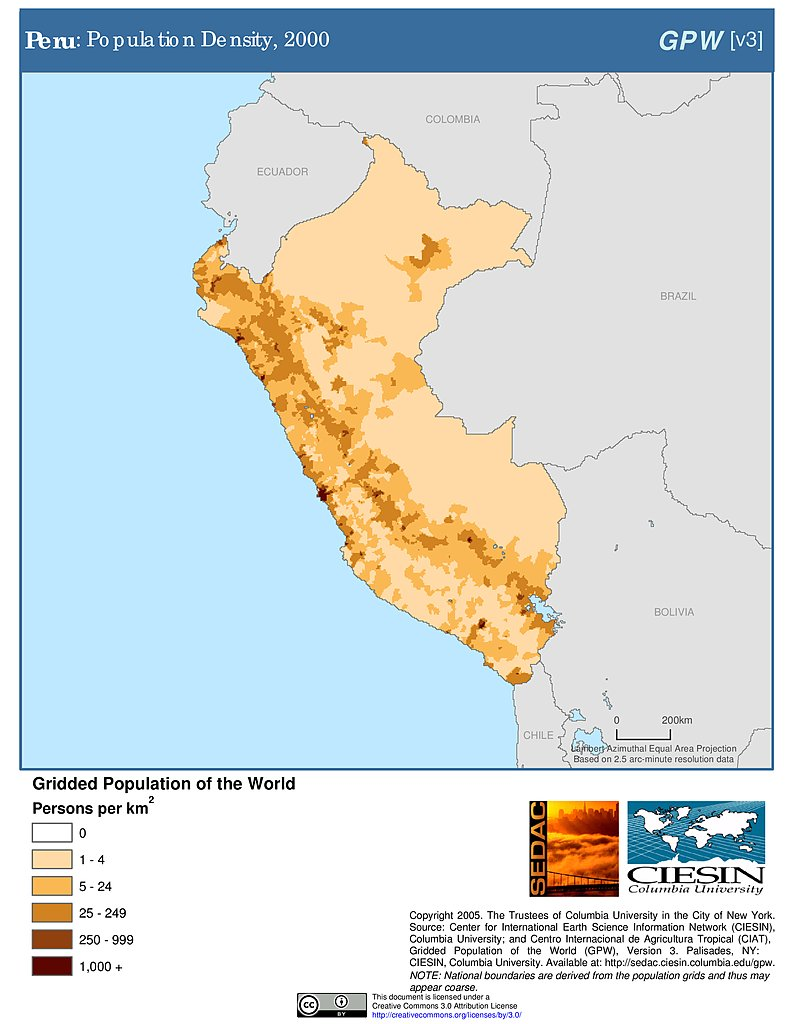 Population Density Map Of Peru Maps » Population Density Grid, v3: | SEDAC