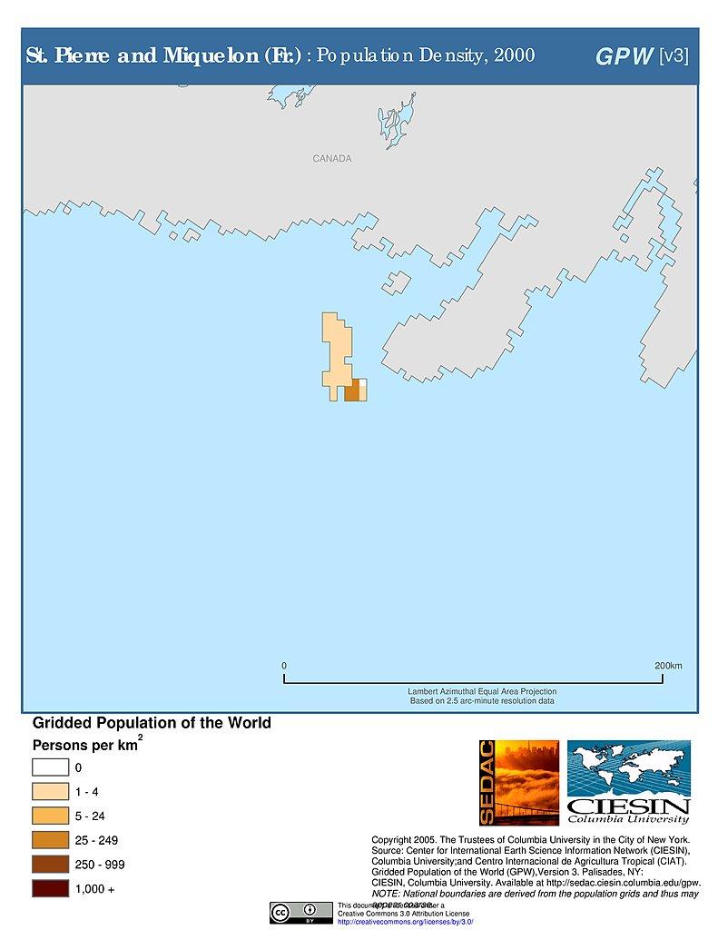 Map Gallery SEDAC - Saint pierre and miquelon map