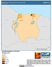 Map: Population Density (2000): Suriname