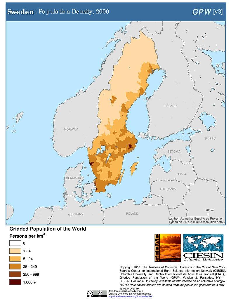 Maps Population Density Grid V SEDAC - Sweden map population density