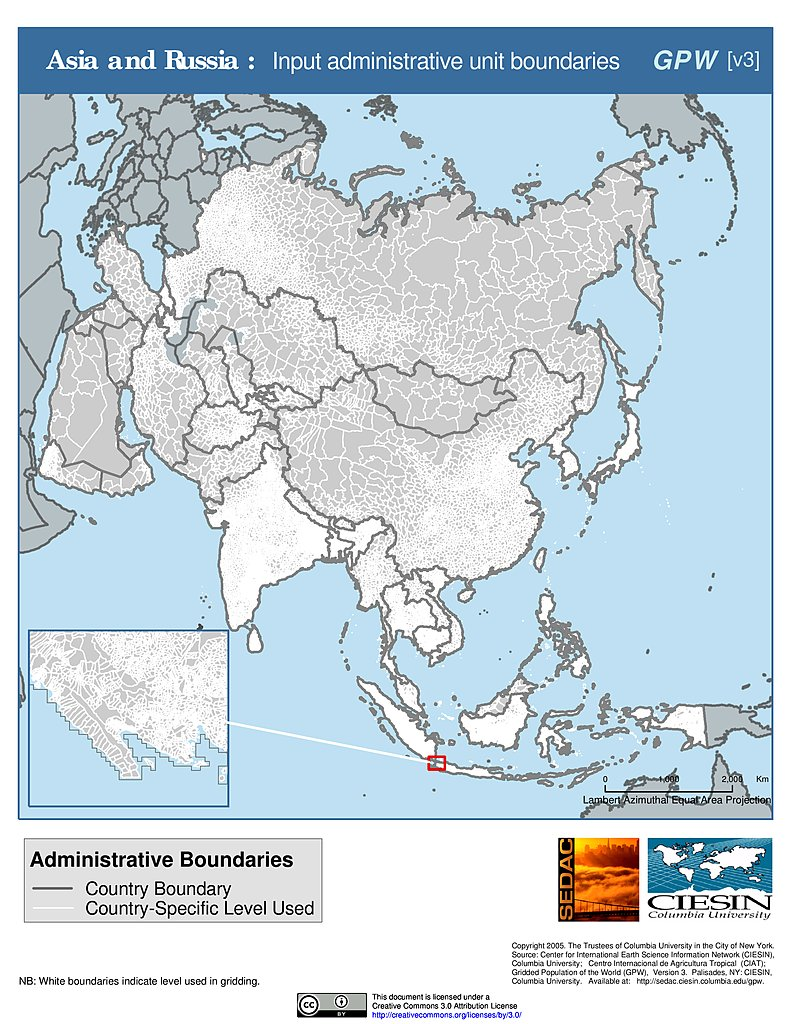 Boundary Map Of Asia.Maps Subnational Administrative Boundaries V3 Sedac