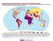 Map: Basic Demographic Characteristics (2010): Total Dependency Ratio