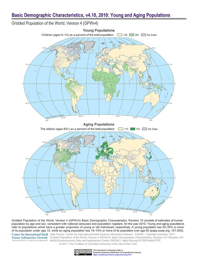 Map gallery sedac basic demographic characteristics 2010 young and aging populations gumiabroncs Image collections