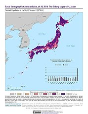 Map: GPWv4 Rev11: Basic Demographic Characteristics (2010): The Elderly, Japan