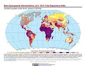 Map: GPWv4 Rev11: Basic Demographic Characteristics (2010): Total Dependency Ratio