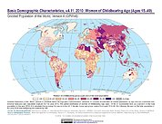 Map: GPWv4 Rev11: Basic Demographic Characteristics (2010): Women of Childbearing Age