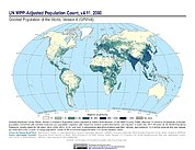 Map: GPWv4 Rev11: UN WPP-Adjusted Population Count (2000)