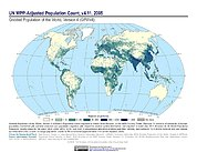 Map: GPWv4 Rev11: UN WPP-Adjusted Population Count (2005)