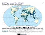Map: GPWv4 Rev11: UN WPP-Adjusted Population Count (2020)