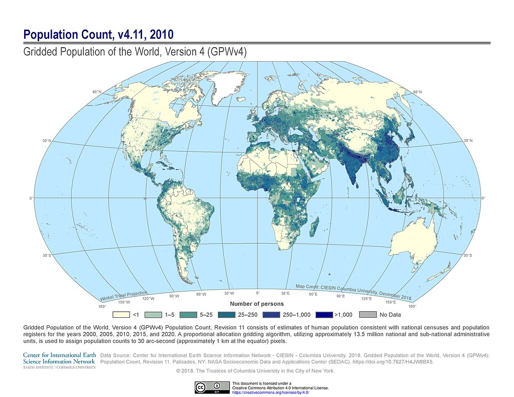 Image of: Maps Gridded Population Of The World Gpw V4 Sedac