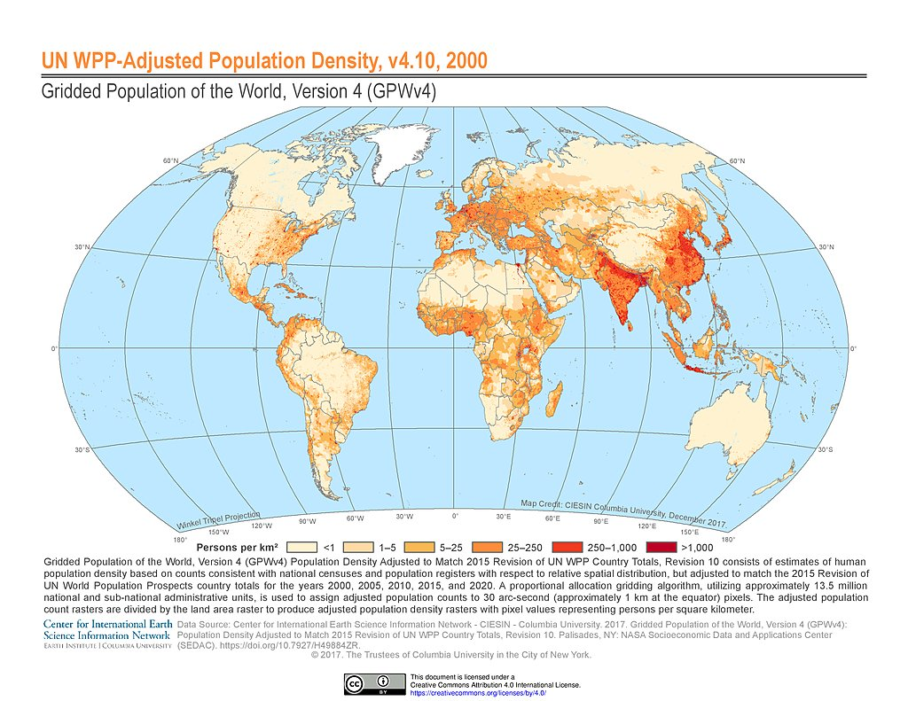Maps gridded population of the world gpw v4 sedac un wpp adjusted population density 2000 gumiabroncs Gallery