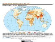 Map: GPWv4 Rev11: UN WPP-Adjusted Population Density (2000)