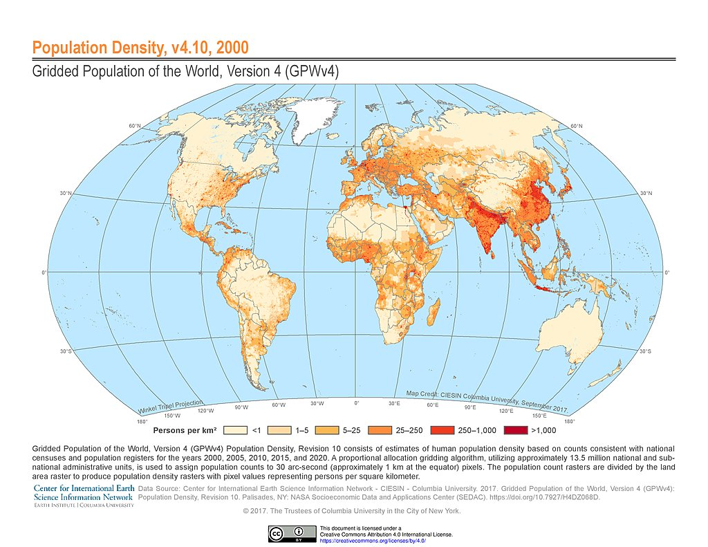 Maps » Gridded Potion of the World (GPW), v4 | SEDAC Density Map on
