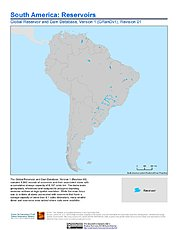 Map: South America - Global Reservoir and Dam Database, Version 1 (GRanDv1): Reservoirs, Revision 01