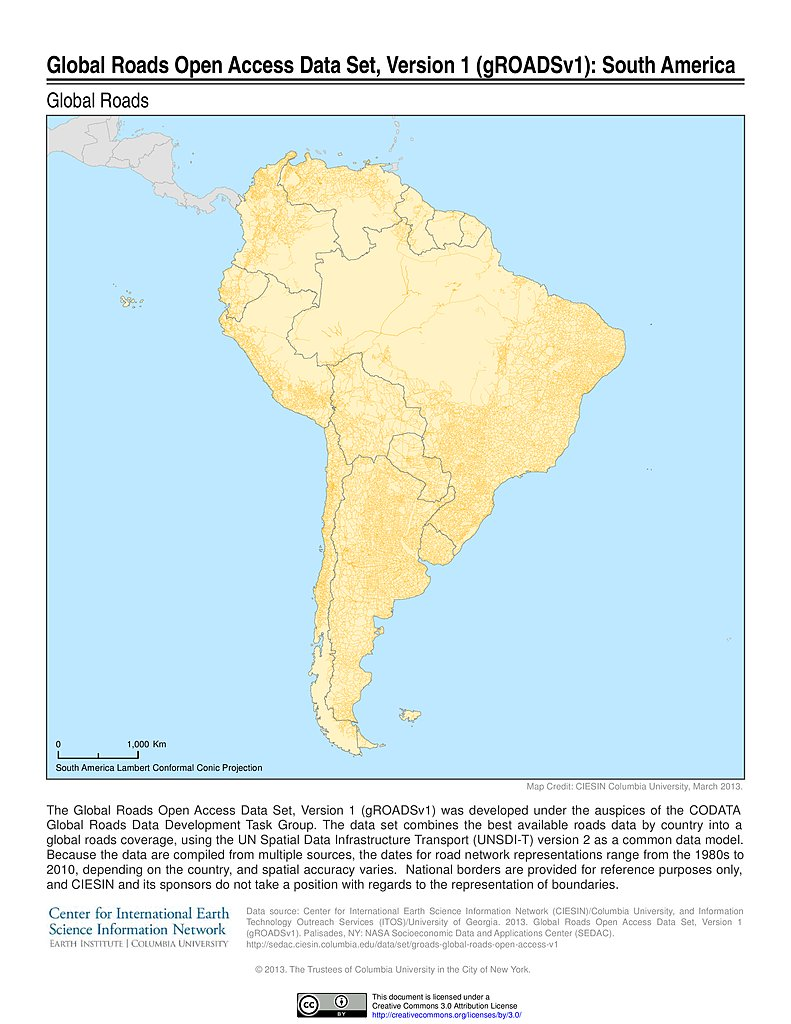 Map gallery sedac global roads open access data set v1 south america gumiabroncs Choice Image