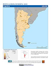 Map: Population Density (2000): Argentina