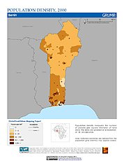Map: Population Density (2000): Benin
