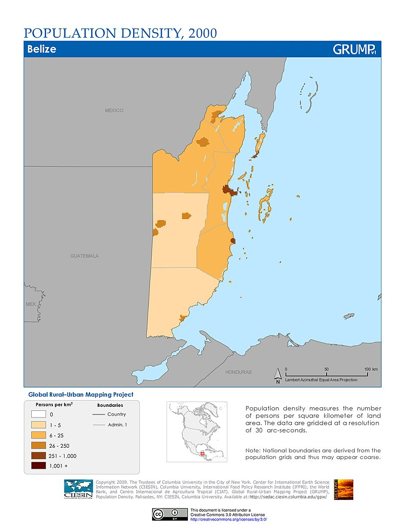 Honduras Mexico Map.Maps Population Density Grid V1 Sedac